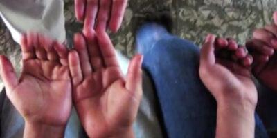 Close up of children's hands