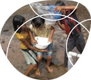 children playing with buckets of water