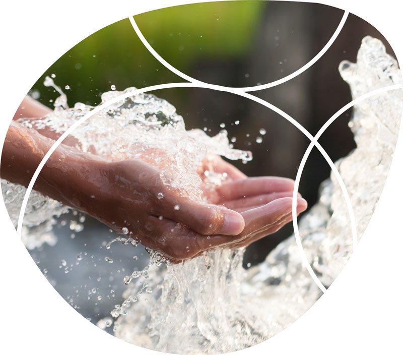 close up of hands scooping up water